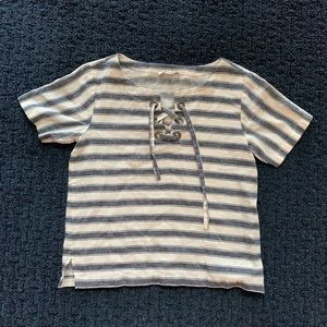 Madewell striped lace-up box tee